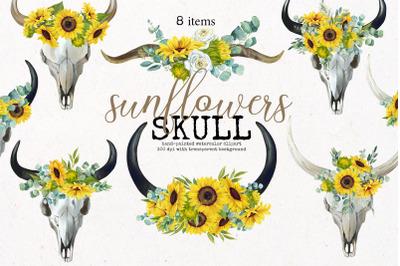 Boho Bull Skull with Sunflowers