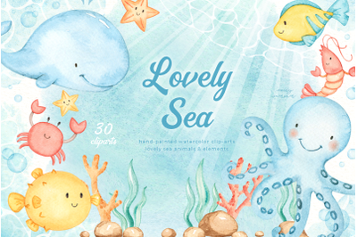 Lovely Sea Animals Watercolor Set