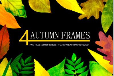 Botanical digital watercolor autumn frames