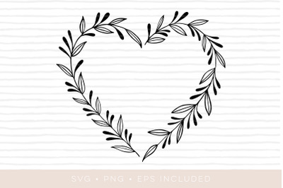 Heart Cutfile Elegant leaves foliage SVG. PNG, EPS also included