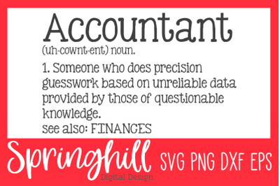 Accountant Definition SVG PNG DXF & EPS Design Cutting Files