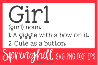 Girl Definition SVG PNG DXF & EPS Design Cutting Files