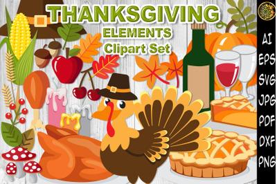 Thanksgiving Elements SVG Stickers Clip Art Set