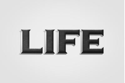 Life 3D Text Effect PSD