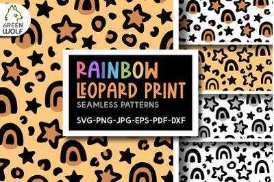 Rainbow leopard print svg Cute patterns Stars pattern svg Magic svg