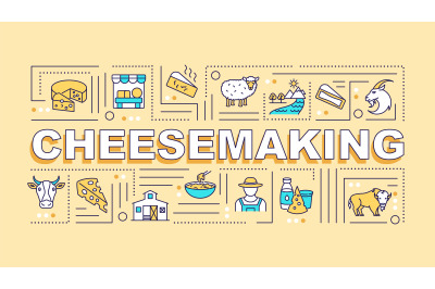 Cheesemaking word concepts banner
