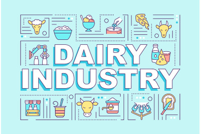 Dairy industry word concepts banner