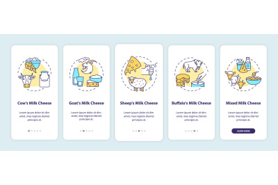 Cheese production onboarding mobile app page screen with concepts
