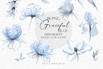 Dusty blue floral clipart, Boho navy blue floral elements png