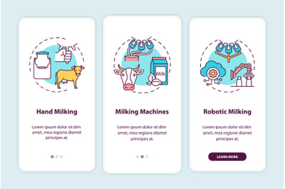 Cow milking onboarding mobile app page screen with concepts