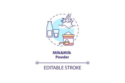 Milk and milk powder concept icon