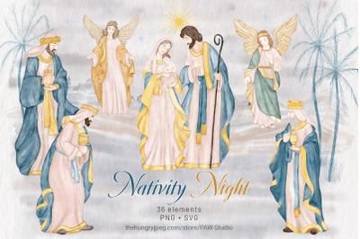 Religious Christmas Nativity Watercolor Clipart