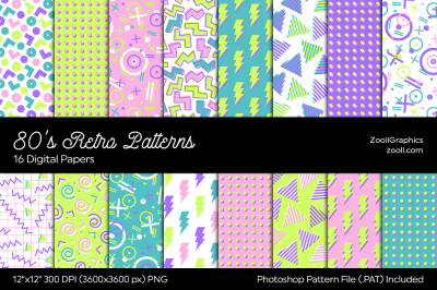 80's Retro Light Patterns Digital Papers