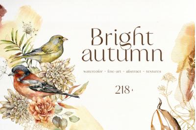 BRIGHT AUTUMN watercolor fall flowers birds pumpkins abstract textures