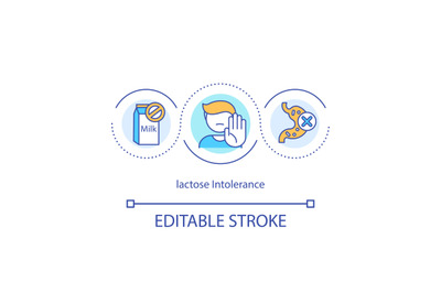 Lactose intolerance concept icon
