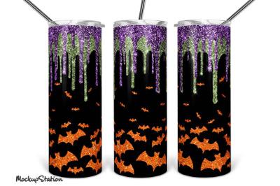 Halloween Tumbler Design Sublimation PNG, Bat Tumbler 20oz Skinny