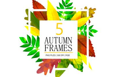 Autumn Leaves Digital Watercolor frames