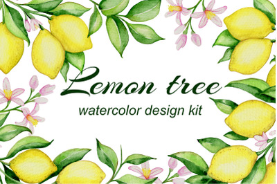 Lemon Tree Watercolor Design Kit