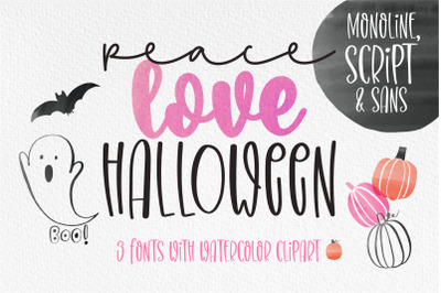 Peace Love Halloween - The 3 handwrttien fonts