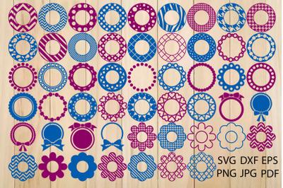 52 Monogram Frames Svg, Round Border Svg, Scallops Label