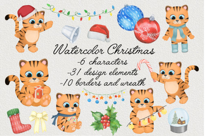 Bundle watercolor Christmas illustration. Holiday clipart.