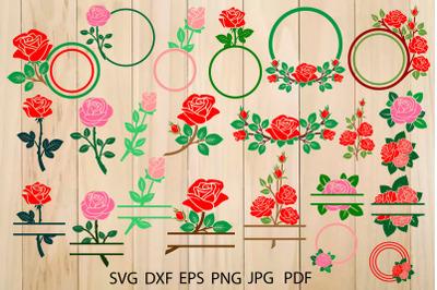 Roses SVG, Flowers Monogram Frames, Roses Clip Art