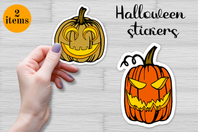 Halloween Pumpkin stickers set. Printable Stickers for Cricut. Autumn