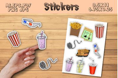Printable cartoon Stickers Cinema food, For GoodNotes,cricut