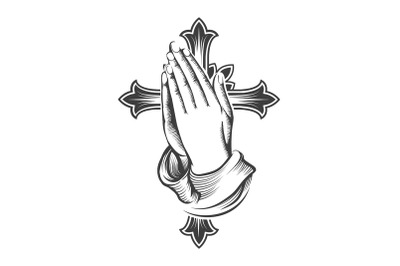 Praying Hands and Cross Engraving Tattoo