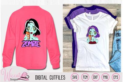Zombie selfie girl cartoon for Halloween,