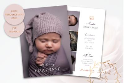 Birth Announcement Card Template #15