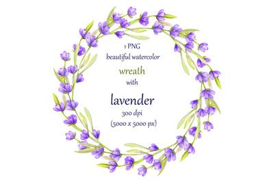 Lavender wreath clipart watercolor, hand painted violet flowers