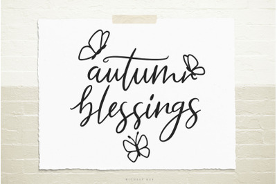 Autumn blessings quote svg cut file