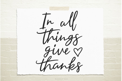 Give thanks quote svg cut file