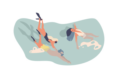 Cartoon swimming character. People in pool or sea water, man and woman