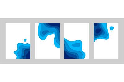 Paper cut sea posters. 3d ocean banners with papercut minimal gradient