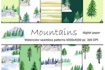 Mountains watercolor digital paper. Forest seamless pattern.
