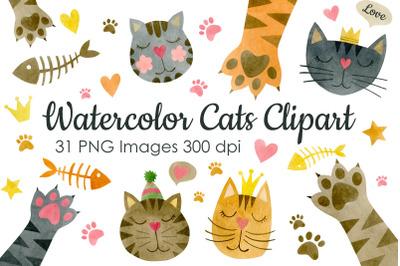 Watercolor faces cats clipart.