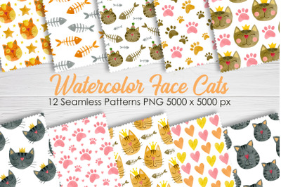 Watercolor face cats seamless patterns.