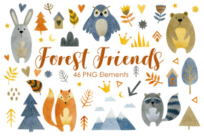 Watercolor forest friends clipart