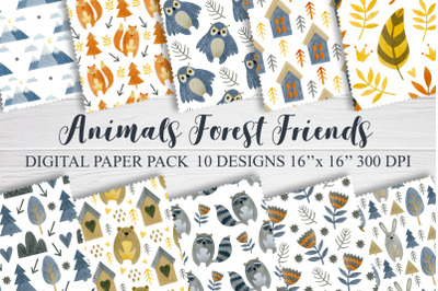 Watercolor animals friends seamless patterns.