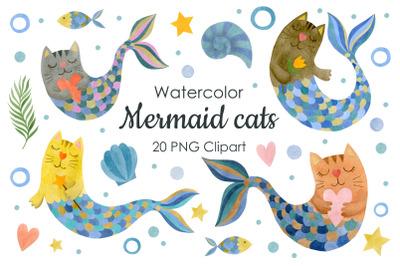 Watercolor mermaid cats clipart.