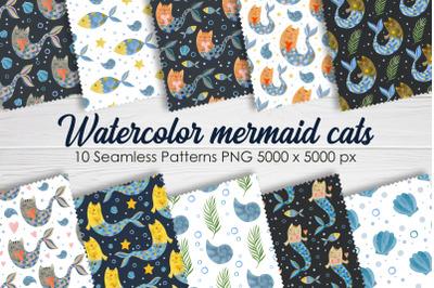 Watercolor mermaid cat seamless patterns.