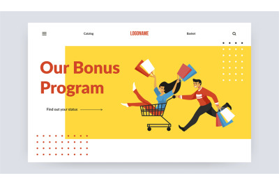 Purchase landing page. Online shopping service with logo place, button