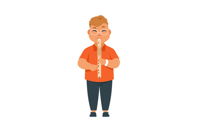 Boy musician. Standing child with flute. Kid playing musical instrumen