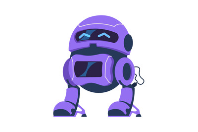 Cartoon android character. Robot mascot, science innovation template.