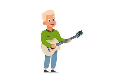 Cartoon boy with guitar. Child playing musical instrument at home, cla