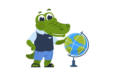 Cartoon crocodile with globe. Alligator in clothes learns geography, a