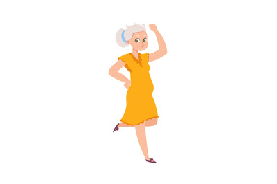 Cartoon dancing older woman. Female in yellow dress. Grandmother wavin