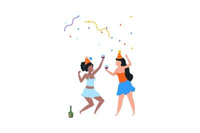 Cartoon dancing women. Cute females in holiday hats celebrating birthd